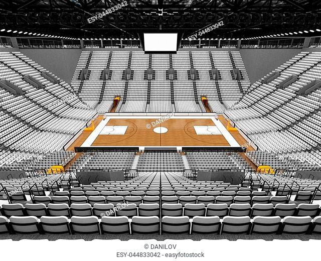 3D render of beautiful sports arena for basketball with floodlights and white seats and VIP boxes for ten thousand people