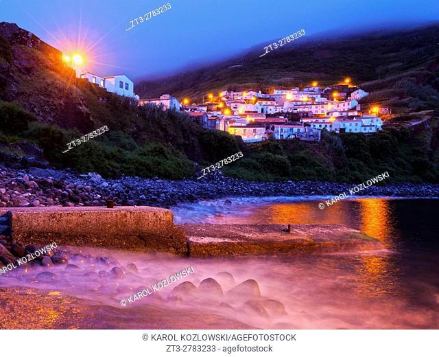 Portugal, Azores, Corvo, Twilight view of the Vila do Corvo