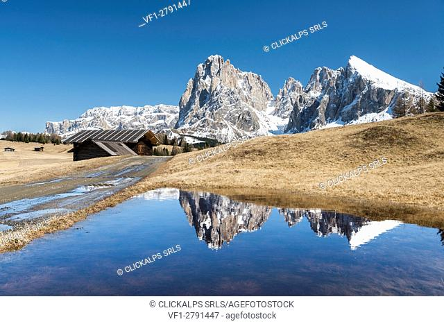 Alpe di Siusi/Seiser Alm, Dolomites, South Tyrol, Italy. Reflections on the Alpe di Siusi/Seiser Alm
