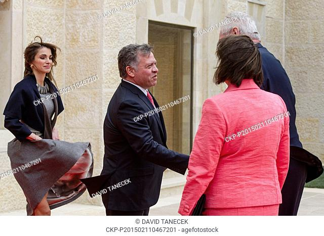 Czech president Milos Zeman with his wife Ivana (right) meets King Abdullah II and Queen Rania (left) in their palace in Amman, Jordan, February 2, 2015