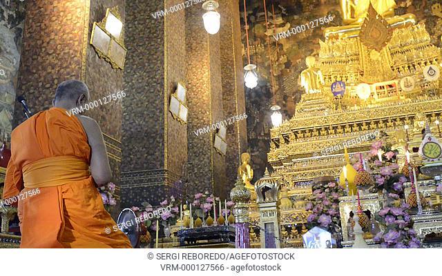 Buddhist Shrine Temple, Praying and Ordination Hall at Wat Pho, Bangkok, Thailand. Wat Pho (the Temple of the Reclining Buddha), or Wat Phra Chetuphon