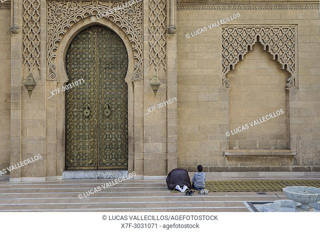 Facade of a mosque, is part of Mausoleum of Mohammed V, Rabat, Morocco