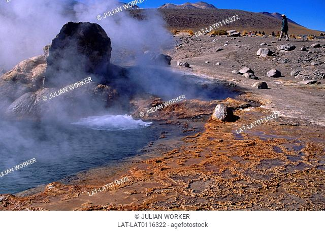 El Tatio Geyser Field is a active geothermal area of hot springs and geyser steam plumes and vents in the Andes