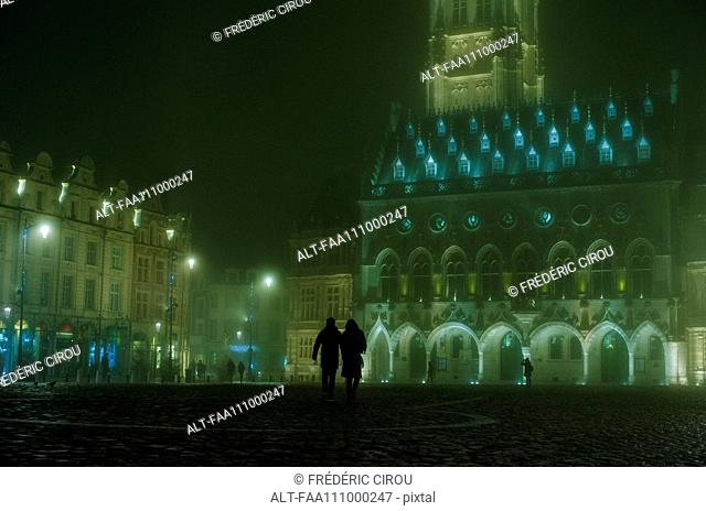 Night view of the Town Hall and Belfry in Arras, France