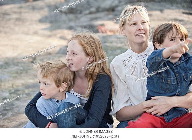 Mother with three children, Nacka, Sweden