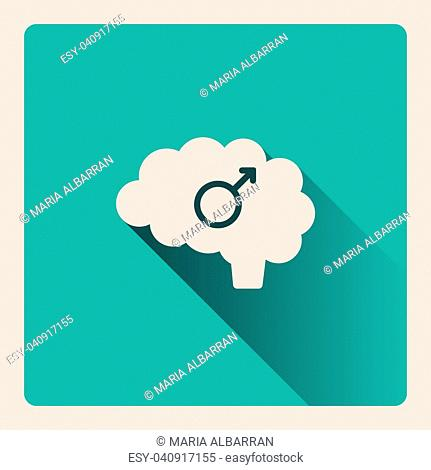 Male brain illustration on blue square background with shade