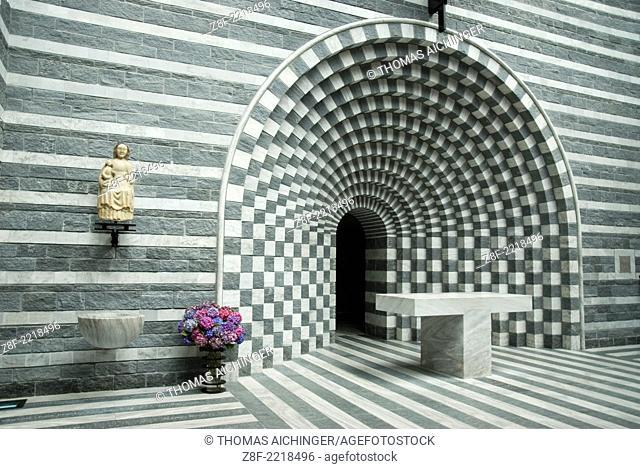 Interior view of the church of San Giovanni Battista, Mogno Tessin, Switzerland