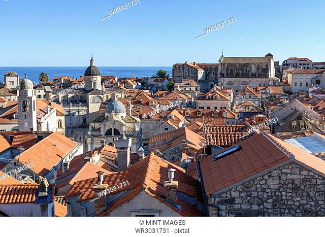 View across the rooftops of the historic old town of Dubrovnik, and a view to the Adriatic Sea