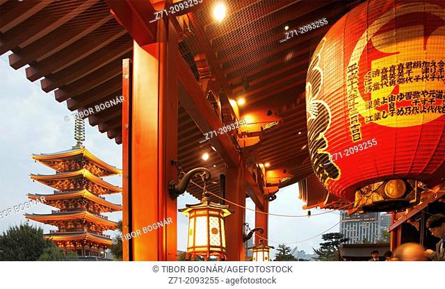 Japan, Tokyo, Asakusa, Sensoji Temple, Pagoda,