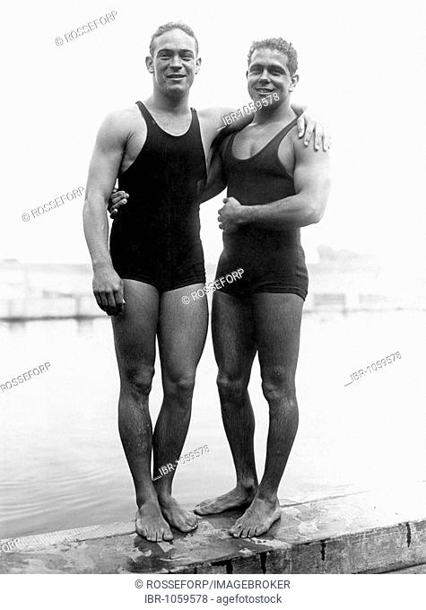 Historic photograph, aquatic athletes, around 1932