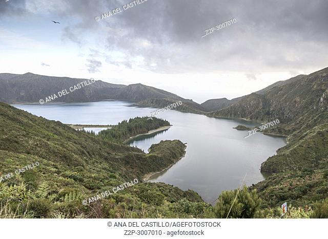 Lago de Fogo (Fire lake), Ribeira Grande, Sao Miguel island, Azores, Portugal