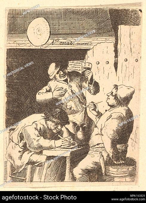 Singer Standing Between Two Smokers. Artist: After Adriaen van Ostade (Dutch, Haarlem 1610-1685 Haarlem); Date: 1610-85; Medium: Etching; Dimensions: sheet: 3...