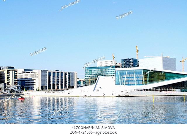 OSLO, NORWAY - MAY 22: View on a side of the National Oslo Opera House on May 22, 2012 in Oslo, Norway, which was opened on April 12, 2008