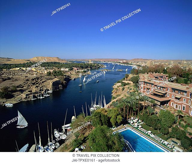 Egypt, Aswan, Feluccas on the Nile