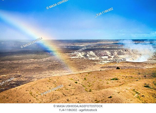 rainbow over actively erupting Halemaumau Crater, releasing vog - volcanic gas, Kilauea Caldera, Hawaii Volcanoes National Park, Kilauea, Big Island, Hawaii