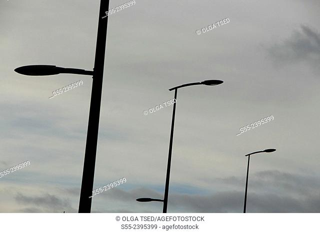 Street lights. Nordeste, Sao Miguel island, Azores, Portugal