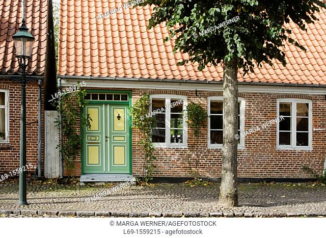 Historic house in 'SLotsgaden' from 17th and 18th century, Mögeltondern or Mogeltonder, South Jutland, Denmark