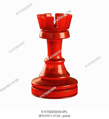 Rook chess piece, computer illustration