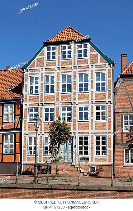 Gabled house, old harbour, Stade, Lower Saxony, Germany
