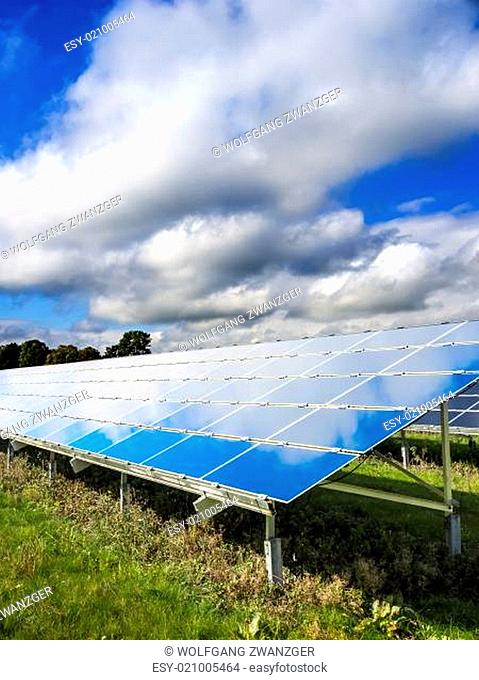 Solar Panel on green meadow