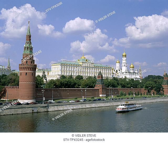 Holiday, Kremlin, Landmark, Moscow, Moskva, River, Russia, Tourism, Tourist boat, Travel, Vacation
