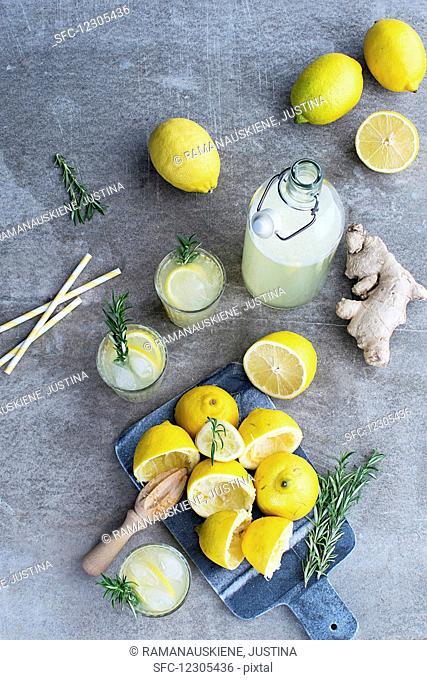 Lemon Ginger Lemonade with Rosemary