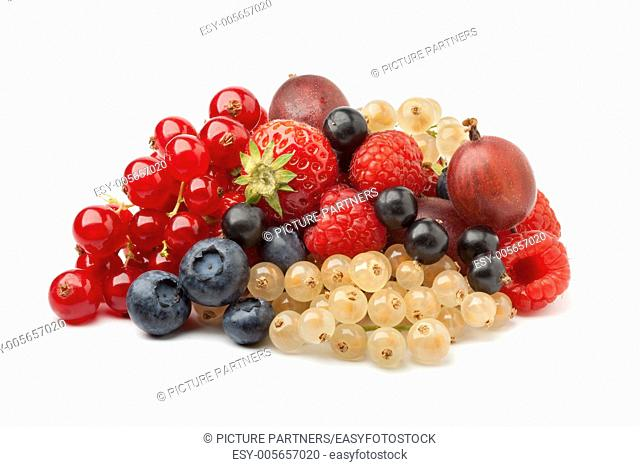 Composition of summer berries on white background