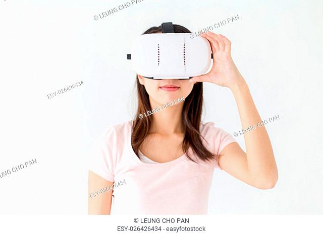Woman wearing of virtual reality device