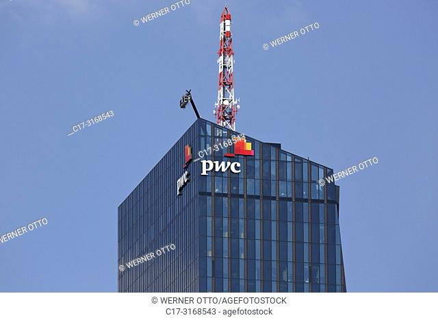 Vienna, Wien, Austria, A-Vienna, Danube, Federal Capital, Donau City, DC Tower 1, Commercial Tower, skyscraper, detail with pwc logo