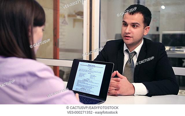 Young businessman at the interview in office