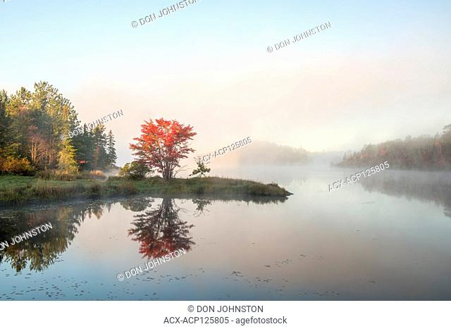 Autumn reflections in St. Pothier Lake at dawn, Greater Sudbury, Ontario, Canada