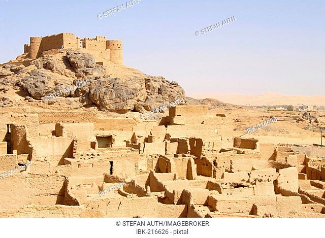 Old walls made of clay with fort Koukemen above old city Ghat Fezzan Libya