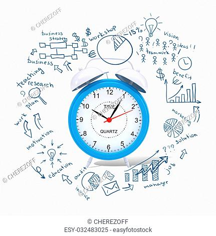 Conceptual image of Alarm clock with business sketches at background