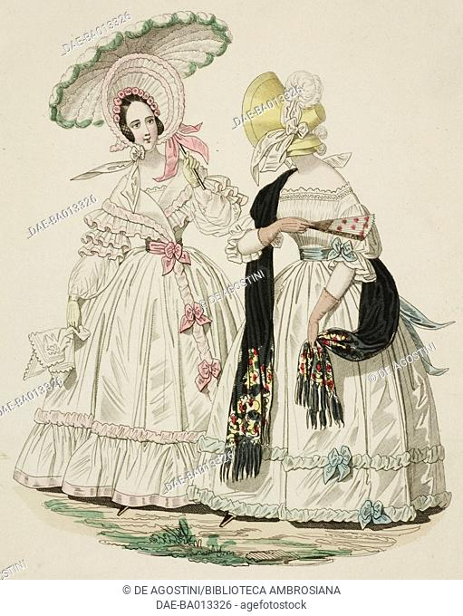 Female sketches in white dress with hat, parasol and black scarf, plate 41 taken from Parisian Fashion, Il Corriere delle Dame (Ladies' Courier), 15th July 1837
