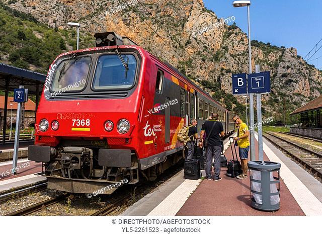 Villefranche, France, Tourists Visiting Pyrenees Mountain Village, Near Perpignan