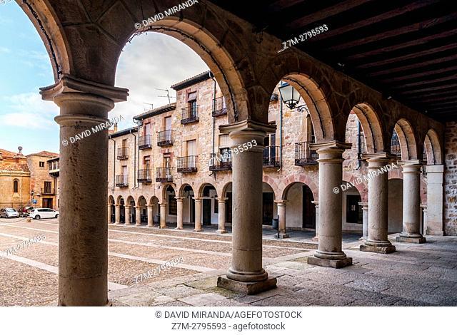 Town Hall arcade, Sigüenza, Guadalajara province, Castile La Mancha, Spain. Historical Heritage Site