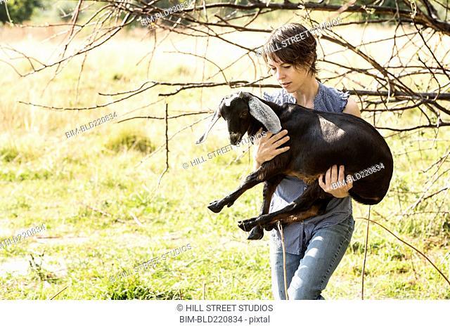 Woman carrying goat in field