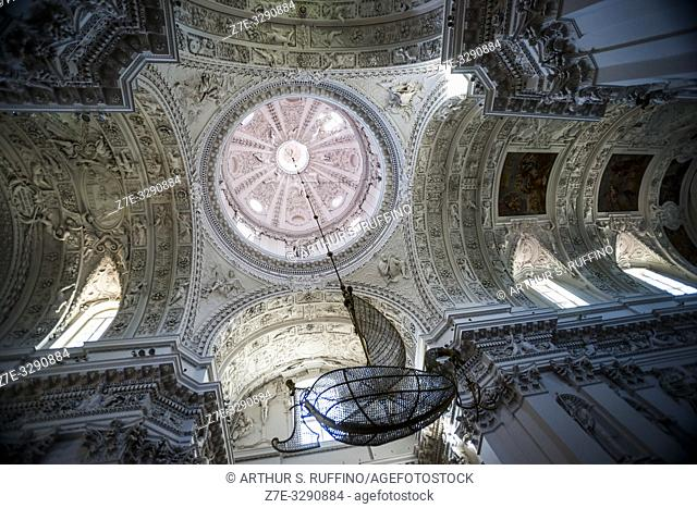 Boat-shaped chandelier. Interior of Church of St. Peter and St. Paul. Antakalnis District, Vilnius, Lithuania, Baltic States, Europe