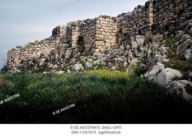 Ruins of the Cyclopean walls on the acropolis of Tiryns (UNESCO World Heritage List, 1999), Greece. Mycenaean civilisation, 13th century BC