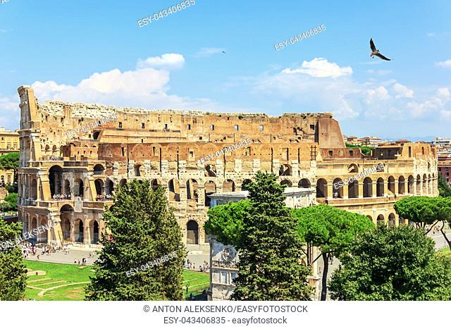 Coliseum in Rome and the Arch of Constantine, summer view, Italy
