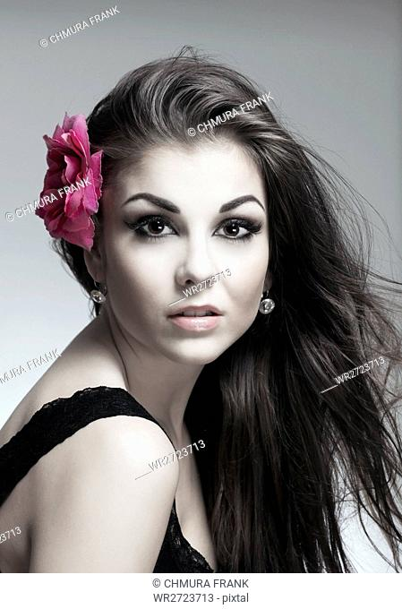 attractive, background, beautiful, beauty, Caucasian, eyes, face, fashion, female, flower, girl, hair, hairstyle, isolated, looking, make-up, makeup, model