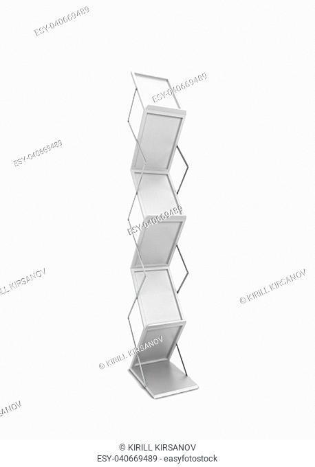 Rack for brochures. 3d illustration isolated on white background