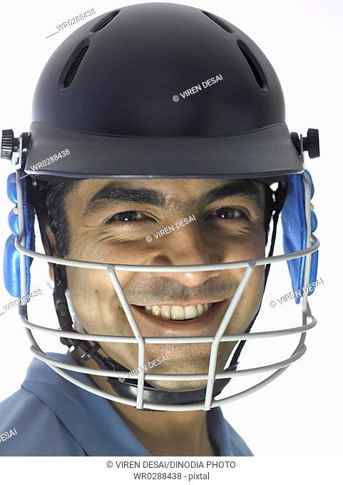 Close ups of Indian batsman wore helmet ready for cricket match MR702A