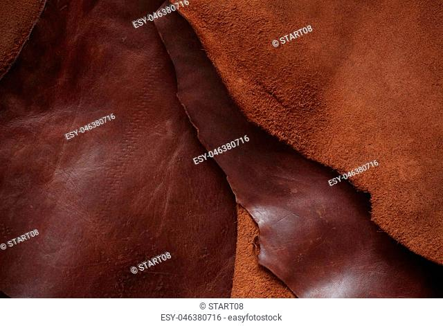 Surface of the old leather sheet stacked