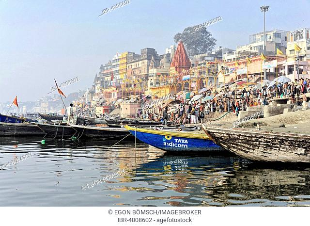 Boats on the Ganges, Varanasi, Benares, Uttar Pradesh, India