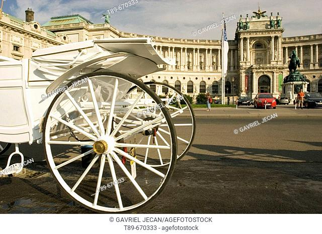 Heldenplatz (Square), the Hofburg, entrance to the National Library and carriage, Vienna, Austria