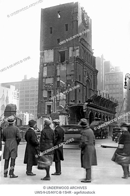 New York, New York: December 9, 1925 Historic old Madison Square Garden is being demolished to make way for the march of progress