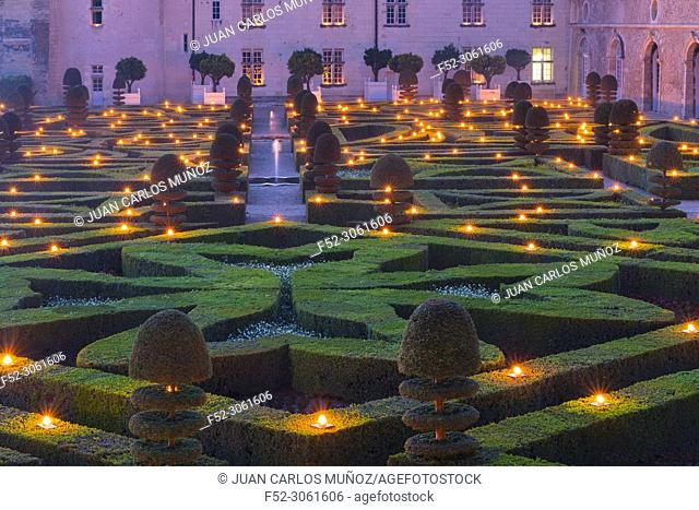 Castle at the night of the thousand fires, Villandry Castle, Villandry, Indre-et-Loire Department, The Loire Valley, France, Europe