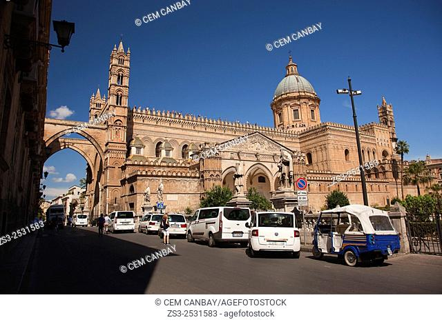 View to the Cathedral, Palermo, Sicily, Italy, Europe