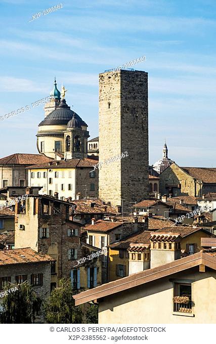 Panoramic of Bergamo upper city, Italy